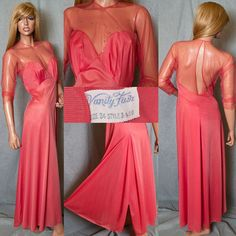 #VintageLingerie #VanityFair Hollywood Glam Sheer Chiffon Rhinestone #Nightgown Negligee #somelikeitused