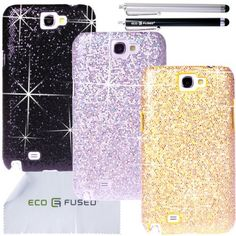 ECO-FUSED 8 pieces Glitter Bling Sparkle Hard Cover Case Bundle for Samsung Galaxy Note 2 II N7100/3 Sparkle Hard Cover Cases (Black, Silver, Gold)/2 Stylus (Black, Silver)/2 Screen Protectors - ECO-FUSED® Microfiber Cleaning Cloth included - (Compatiable with Samsung Galaxy Note II Note 2 (GT-N7100, Verizon SCH-I605, U.S.CELLULAR SCHR950, T-MOBILE SGH-T889, SPRINT SPH-L900, AT&T SGH-I317)) by ECO-FUSED®, http://www.amazon.com/dp/B00AMACCI6/ref=cm_sw_r_pi_dp_E43tsb0GQE6NY