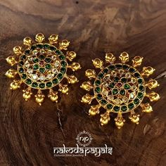 Pure Silver With Gold Polish Big Studs From Nakoda Payals ~ South India Jewels Gold Earrings For Women, Gold Bridal Earrings, Pearl Necklace Designs, Gold Earrings Designs, Frock Models, Gold Temple Jewellery, Ear Chain, Indian Jewelry Earrings, Gold Polish