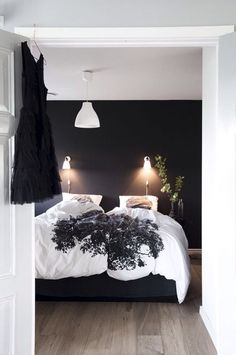 120 Elegant Farmhouse Master Bedroom Decor Ideas - Page 20 of 120 - Afifah Interior Bedroom Black, Dream Bedroom, Monochrome Bedroom, Black Rooms, Dark Cozy Bedroom, Monochromatic Room, White Bedrooms, Comfy Bedroom, Small Bedrooms