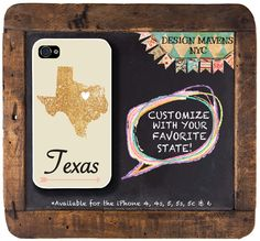 Texas iPhone Case Personalized State Love by DesignMavensNYC