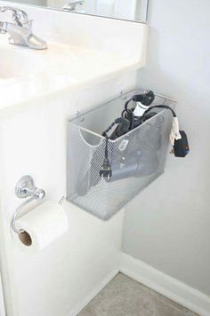 A file box and clips for organizing your bathroom