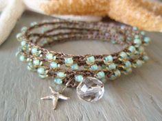 Seafoam crochet wrap bracelet necklace Malibu Star by slashKnots, $43.00