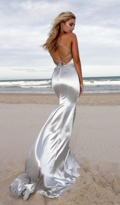 1d079f90287 Sexy Mermaid Silver Halter Custom Long Prom Dresses With Beading