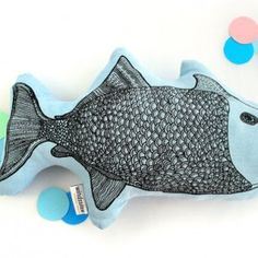 All the Luck in the World Windstilte fish cushion blue 40 cm - All the Luck in the World Fish Pillow, Cushions, Pillows, Hand Sewing, Screen Printing, Creatures, Inspire, Printed, Natural