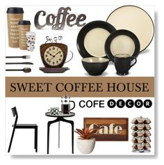 """""""sweet coffee house"""" by ioakleaf ❤ liked on Polyvore featuring interior, interiors, interior design, home, home decor, interior decorating, Kate Spade, Könitz, Rustic Arrow and Alpine"""
