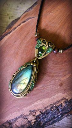 Spirit Quartz Moonstone clay pendant amulet talisman reiki chakra necklace Handmade Mystic