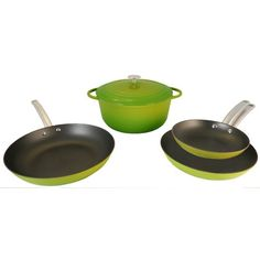 $199.99 | Le Chef 5 Piece Light Enamel Cast Iron Green Cookware Set, on Sale! | (CLICK IMAGE TWICE FOR UPDATED PRICING AND INFO) See More Enamel Cast Iron Cookware Sets at www.momsbestkitchen.com/product-category/cast-iron-cookware-sets/