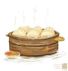 冒着热气的蒸饺哦。