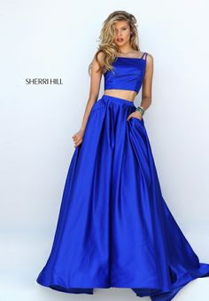 2016 Cheap Royal Satin Pockets Long Homecoming Gown By Sherri Hill 50295