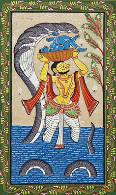 Vasudev Carrying New Born Krishna from Mathura to Vrindavan (Orissa Pattachitra Painting on Tussar Silk - Unframed) Indian Art Paintings, Hindu Art, Madhubani Art, Phad Painting, Mandala Art Lesson, Krishna Painting, Folk Art Painting, Contemporary Folk Art, Girly Wall Art