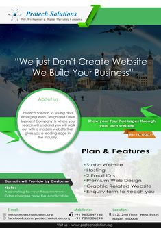 """""""We Just Don't Create Website We Build Your Business""""  Plan & Features *Static Website *Hosting *2 Email ID's *Premium Web Design *Graphic Related Website *Enquiry form to Reach You"""