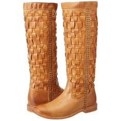 Frye Paige Woven Women's Pull-on Boots, Tan featuring polyvore, fashion, shoes, boots, frye paige woven camel, tan, slip on boots, slip on rubber boots, short heel boots, tall tan boots and studded boots