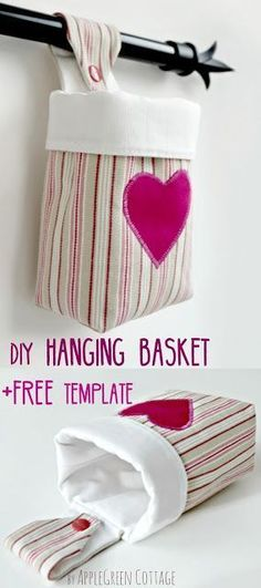 How to make a fabric hanging basket and a free sewing pattern- a fun beginner sewing project. Make a few for your kids playroom, to store crayon and pencils, and hang them on a rod just above the desk! #freepattern #sewingpattern #sewingtutorial #basketpattern #howtosew