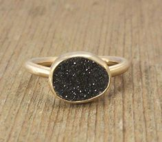 Black Druzy 14K Gold Ring, Black Gemstone Ring, Sparkling Druzy, Starry Night