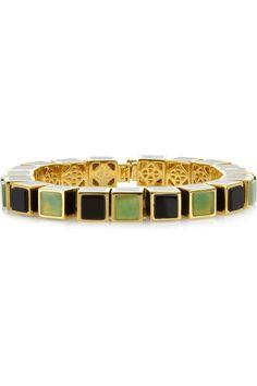 Eddie Borgo|Gold-plated onyx and jade cube bracelet|NET-A-PORTER.COM