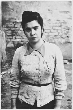 Portrait of a 19-year-old Serbian woman, Olga Vucetic, during her incarceration at the Bijeljina prison.  Olga is the daughter of Jlija and Stanka Vucetic from Vlasence. While serving with the Yugoslav partisans, she was arrested during a visit to Bijeljina in 1942. After being jailed for a time at the local prison, she was deported to the Jasenovac concentration camp.