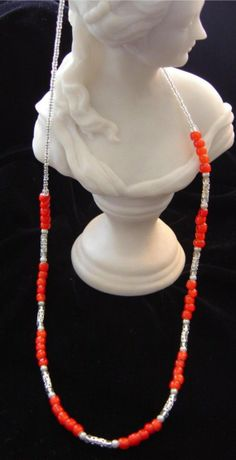 SALE Necklace Indian Trade beads red and white by BlessedBeeMelisa, $45.00