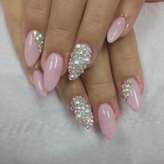 Baby Pink Almond Stiletto Nails with Pearls