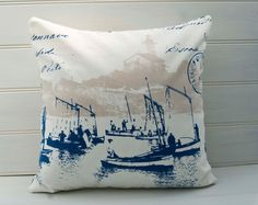 Nautical  Cover Cushion Cover - throw pillow cover - 16x16ins made in French Coastal Nautical Boats Blue and Cream Fabric - Made in the UK