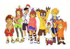 Digimon Adventure characters in costumes of their Digimon.