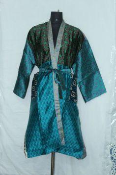 Indian Woman's Silk Boho Bathrobe Dress Patchwork Sari Kimono Jacket Sk-1035 #Handmade #Kimono #AnyOccasionCasual