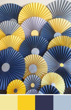 A nautical wedding palette of varying shades of yellow and blue. Source: etsy. #yellow #blue #weddingdecor