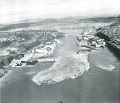 From Oregon State Archives, as this is the anniversary of the 1964 Christmas flood, this was taken over the falls in Oregon City looking over the Oregon City/Gladstone area. Really good picture. Vintage Pictures, Cool Pictures, Oregon City, Gladstone, 50th Anniversary, Historical Photos, Old Photos, Past, Washington