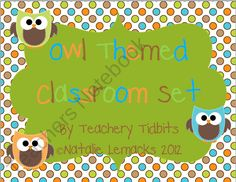 Owl Themed Classroom Set from Teachery Tidbits on TeachersNotebook.com (120 pages)