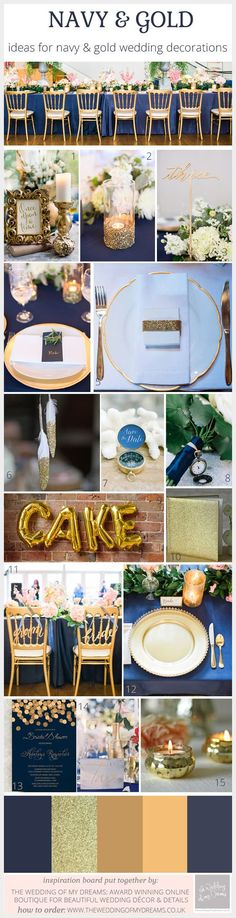 Choosing a navy and gold color scheme for weddings can create a classic and elegant setting for your day. To add a real pop of color to your wedding reception we suggest navy table cloths or runners, this will immediately add color to the room. Smaller accent decorations can add the gold tone: