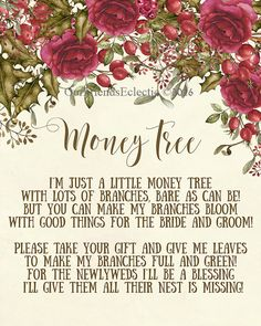 printable money tree sign, money tree print, money tree sign digital, christmas money tree sign, wedding money tree sign, 8x10, you print  A beautiful Christmas floral wedding money tree sign for you to print out and display at your wedding or party! ******Please note this is a digital file - no physical product will be received!****** (Frame not included)  SIZE 8 X 10 **DIGITAL DOWNLOADS** - NO PHYSICAL ITEM IS RECEIVED If an item is listed as digital download this means you will receive…