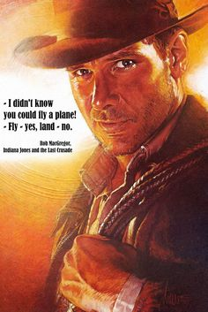 Indiana Jones Quotes Classic Old Movie Film Poster