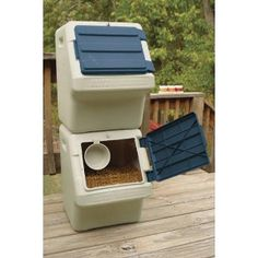 Stackable Pet Food Storage Bin Stackable bulk pet food storage has an airtight, to keep pests o. Diy Storage Containers, Pet Food Storage, Storage Bins, Storage Ideas, Storage Solutions, Smart Storage, Clever Bathroom Storage, Laundry Room Storage, Laundry Rooms