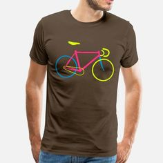 Fixie Bike colored Männer Premium T-Shirt – Schwarz - Fahrrad Cycling T Shirts, Bike Shirts, Cool Shirts, Shirt Print Design, Shirt Designs, T Shirt Printing Design, Graphic Shirts, Printed Shirts, Bike Logo
