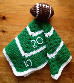Boy's Crochet Baby or Toddler Football Security Blanket, Lovey Football blanket Baby gift