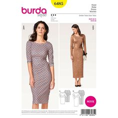 Burda Style Woman's Fitted Dress with Wrapped Waistband, Casual or Sophisticated, Stretch Jersey Knit Dress, Uncut by NeedleandFootSews on Etsy Burda Sewing Patterns, Clothing Patterns, Robe Diy, Jersey Knit Dress, Dress Making Patterns, Miss Dress, Simplicity Patterns, Pattern Fashion, Dresses For Work