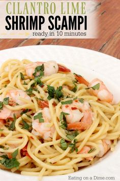 Try this fun twist on a traditional shrimp scampi recipe. This cilantro lime shrimp scampi recipe is amazing and ready in 10 minutes. Your new favorite seafood recipe!