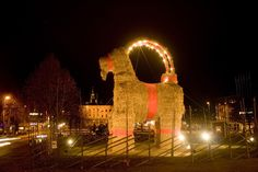 Gavle Goat, Gavle, Sweden. Vandalizing of the Yule goat has become something of a dark tradition for the town. Atlas Obscura