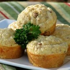 Savory Sausage, Cheese and Oat Muffins Allrecipes.com Alter to use real sausage, and breakfast for the kids.