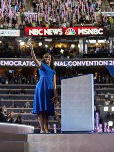 First Lady Michelle Obama selected Christian Siriano, a bastion of inclusivity in a typically exclusive industry, to design the dress she wore for her landmark speech at the Democratic National Convention. The choice of demure silhouette rendered in a somber-yet-party-appropriate blue hue echoes her overall message of unity and patriotism.