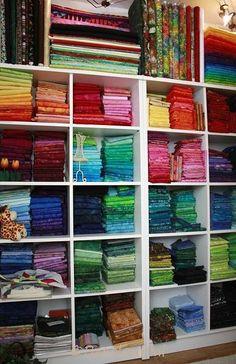 Beautifully organized #fabric stash from Jacqueline De Jong!