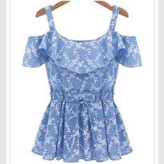 Floral ruffle blouse Cute blue spaghetti strap blue floral ruffle blouse. Sheinside Tops Blouses