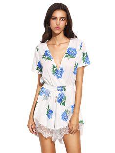 fbb07f7ea339a Plunge V-neck Floral Print Crochet Lace Jumpsuit