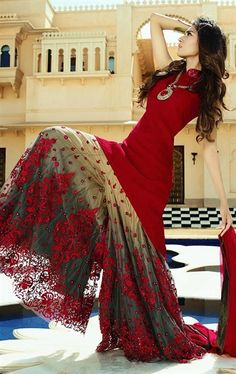 Sparkling Red and Beige Designer Palazo Salwar Kameez