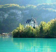 Iseltwald castle lake brienz Switzerland