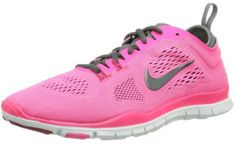 """Nike Womens Free 5.0 TR Fit 4 Cross Training Shoes Reviews. Pink running shoes. """"These shoes provide support but are light enough as to not get in the way during dancing or jumping moves. Plus they are really cute."""" http://www.topwomensrunningshoes.com/nike-womens-free-5-0-tr-fit-4-cross-training-shoes-reviews #TopRunningShoes"""
