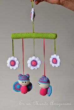 Es un Mundo Amigurumi Mobiles En Crochet, Crochet Mobile, Amigurumi Patterns, Amigurumi Doll, Crochet Patterns, Crochet Dolls, Crochet Baby, Knit Crochet, Paris Crafts