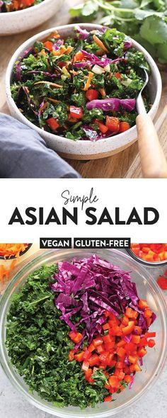 Looking to pair one of your favorite Asian dishes with a simple Asian salad? We've got you covered with this colorful Asian salad recipe dressed with a yummy Asian salad dressing. Red Cabbage Salad, Cabbage Salad Recipes, Kale Recipes, Salad Dressing Recipes, Asian Recipes, Vegetarian Recipes, Dinner Recipes, Cooking Recipes, Healthy Recipes