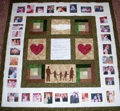 Photo Memory Quilt - Custom Designed with your pictures - Lap Size - Throw Size - Large Wallhanging - Custom Family Heirloom