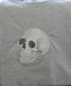 Embroidered Skull Tshirt by EmbroiderybyAlison on Etsy